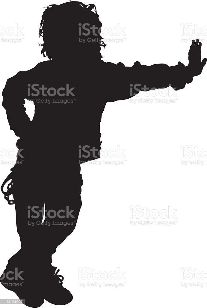 Leaning Little Boy in Silhouette vector art illustration
