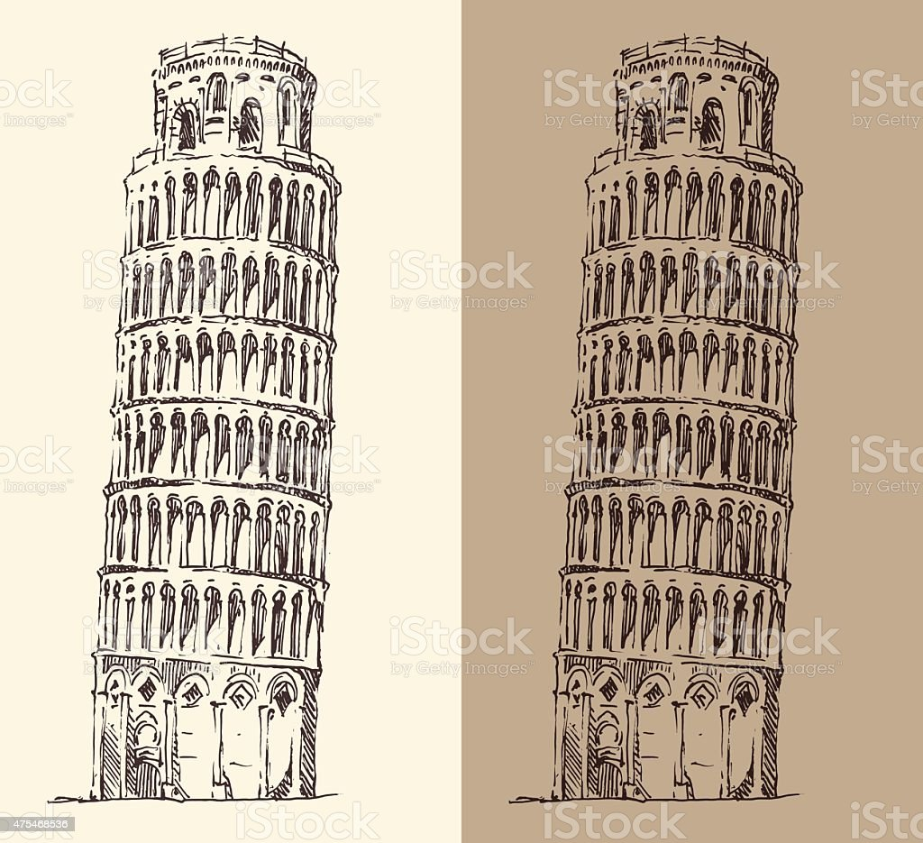 Leaning Tower of Pisa and Cathedral (Italy), vintage engraved illustration vector art illustration