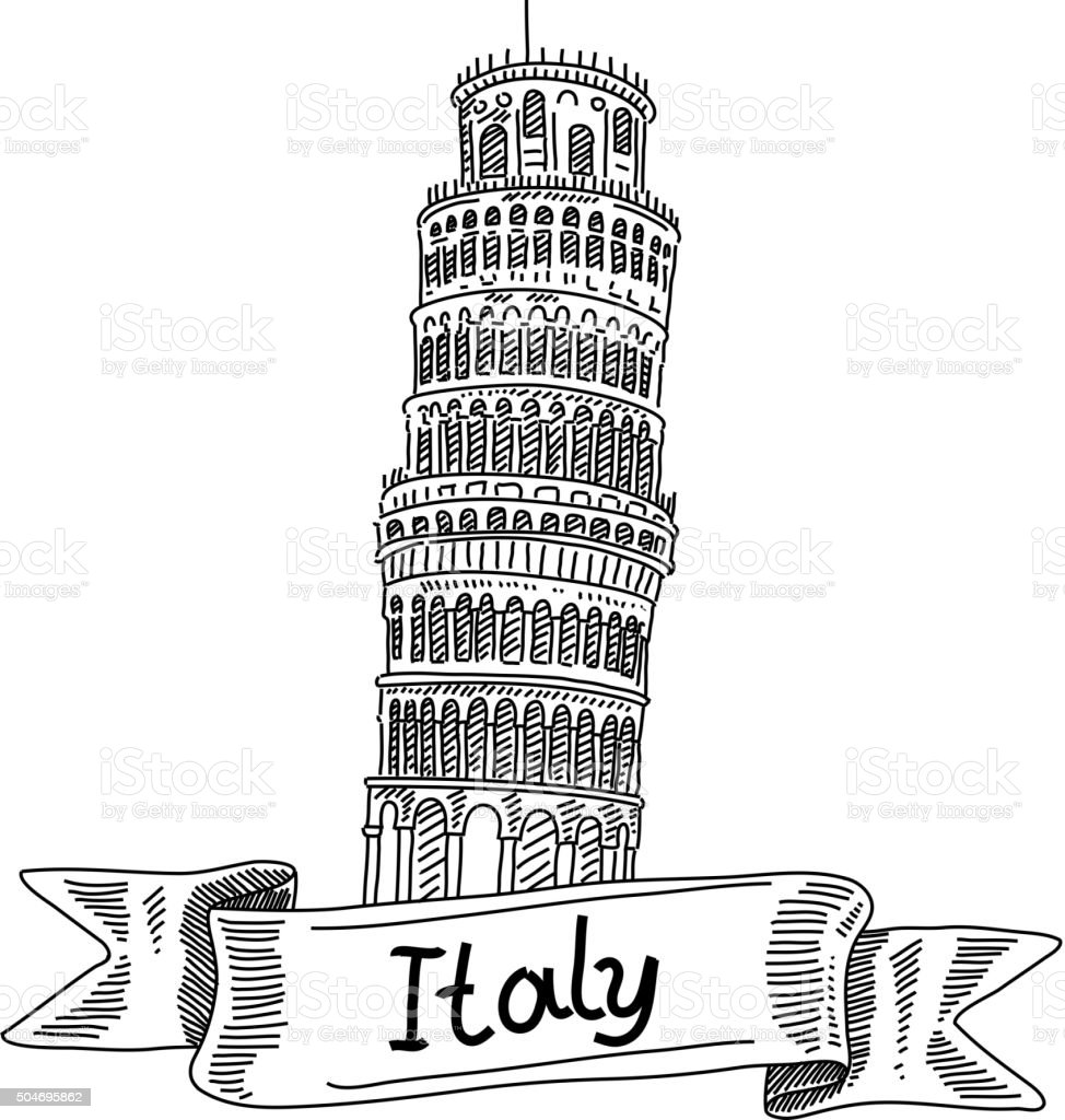 Leaning Tower of Pisa, Italy, Drawing vector art illustration