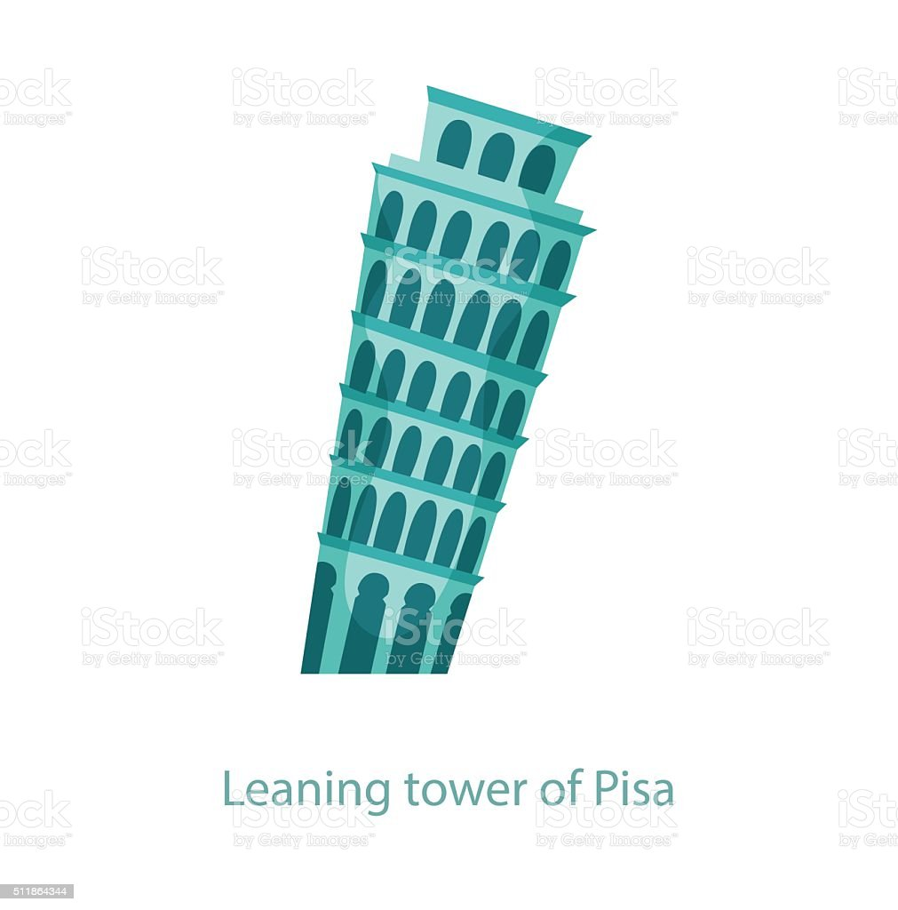 Leaning tower of Pisa vector art illustration