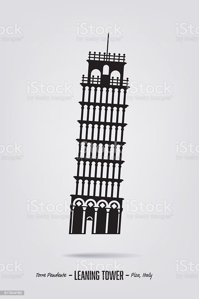 Leaning tower of Pisa vector silhouette poster vector art illustration