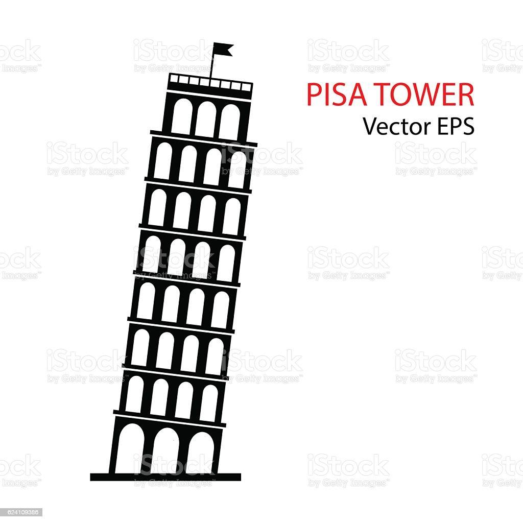 Leaning Tower of Pisa, vector. vector art illustration