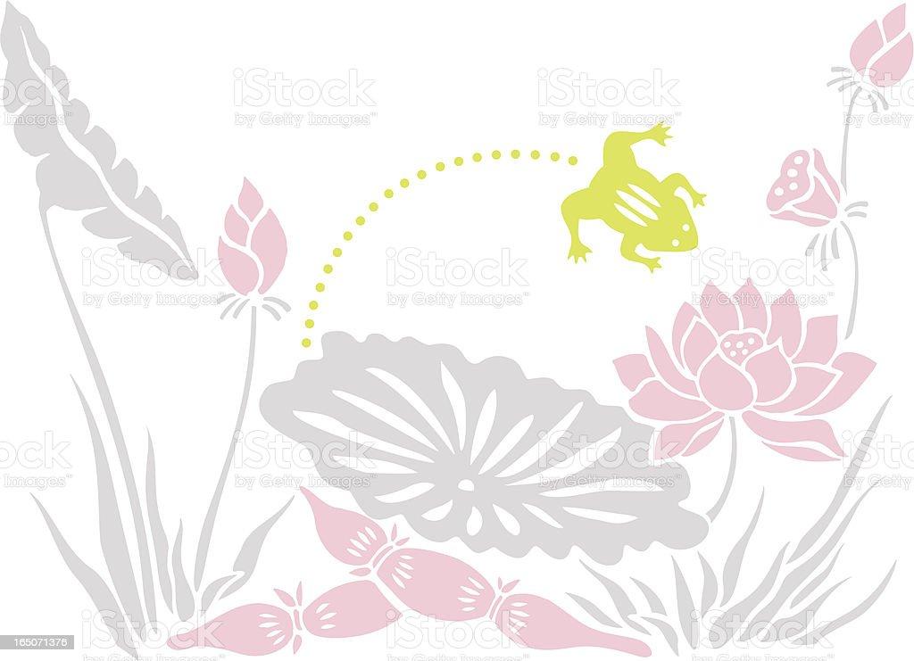 Leap Frog & Lotus royalty-free stock vector art