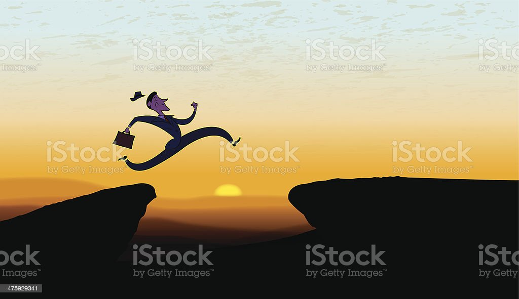 Leap of Faith - Believing, Jumping Business Man royalty-free stock vector art