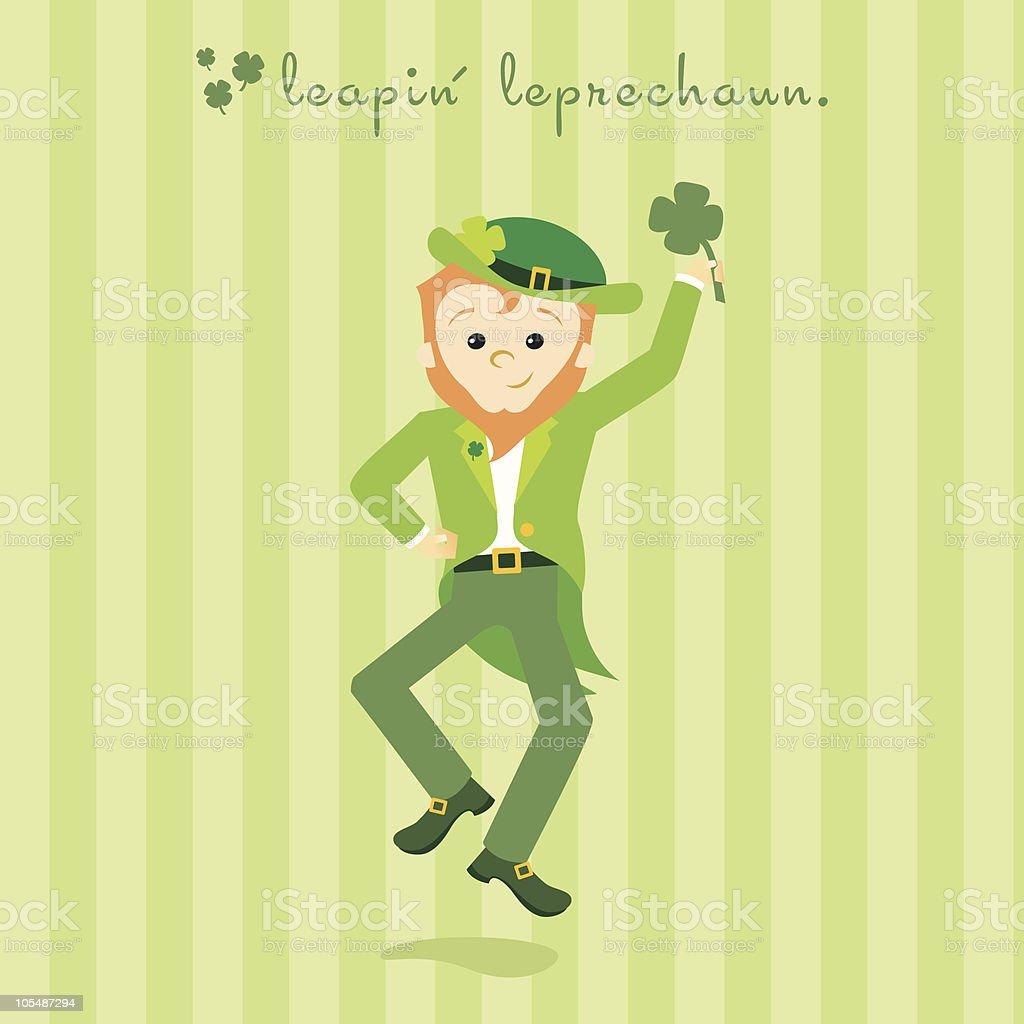 leapin' leprechaun vector art illustration
