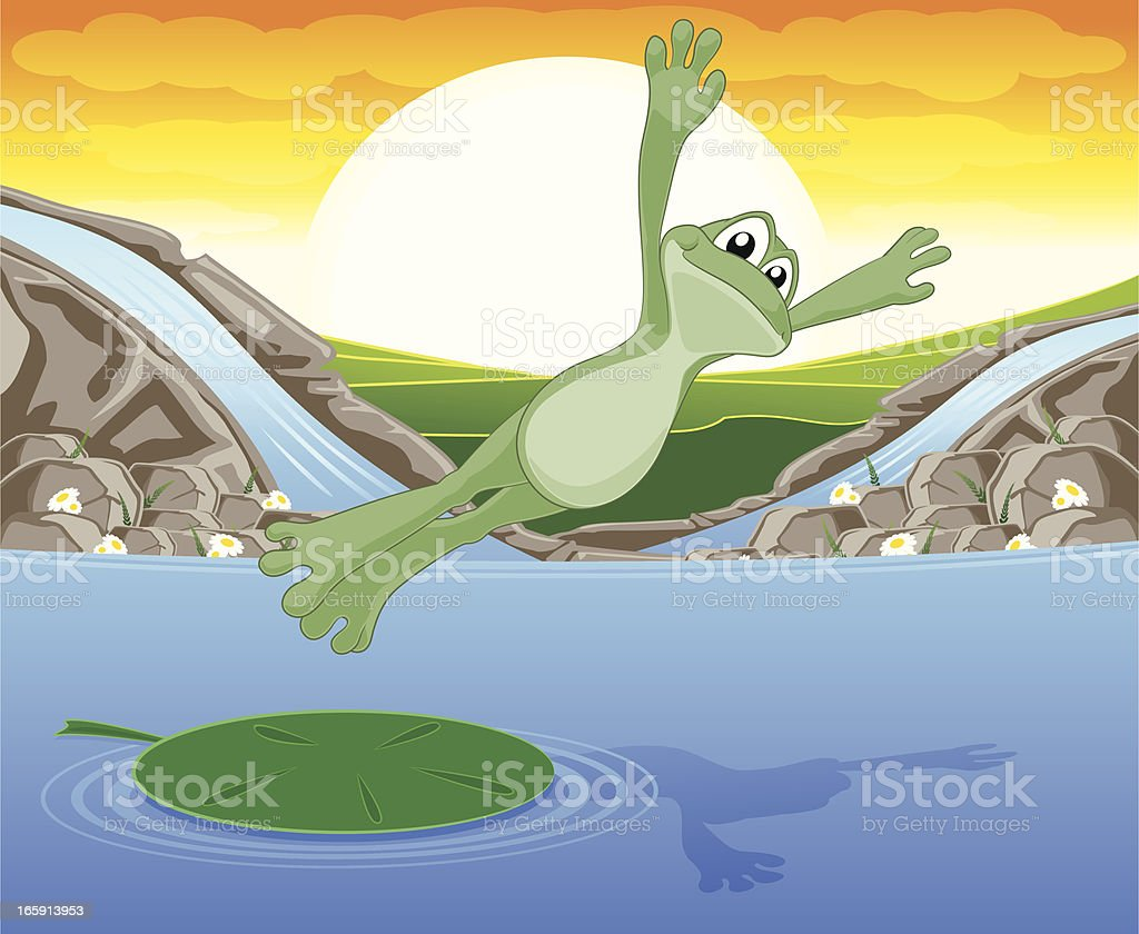 Leaping Frog! royalty-free stock vector art