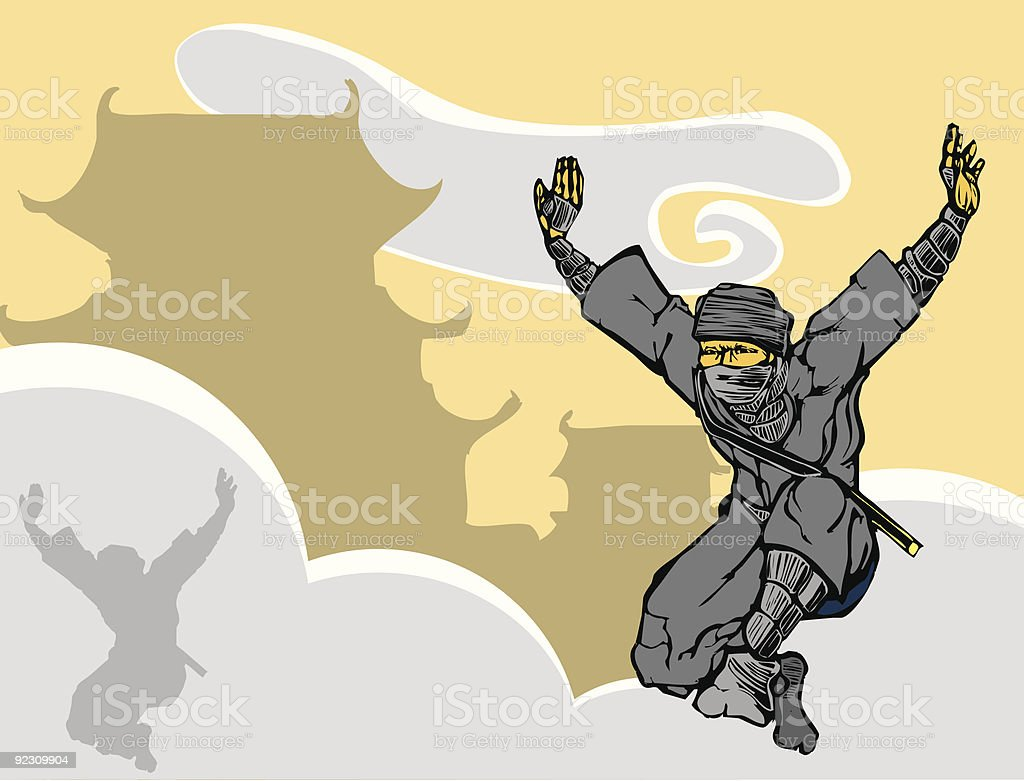 Leaping Ninja vector art illustration