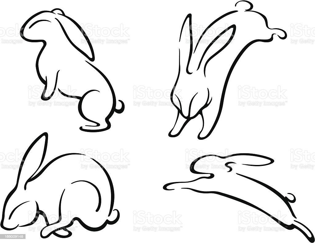 Leaping Rabbit Set royalty-free stock vector art