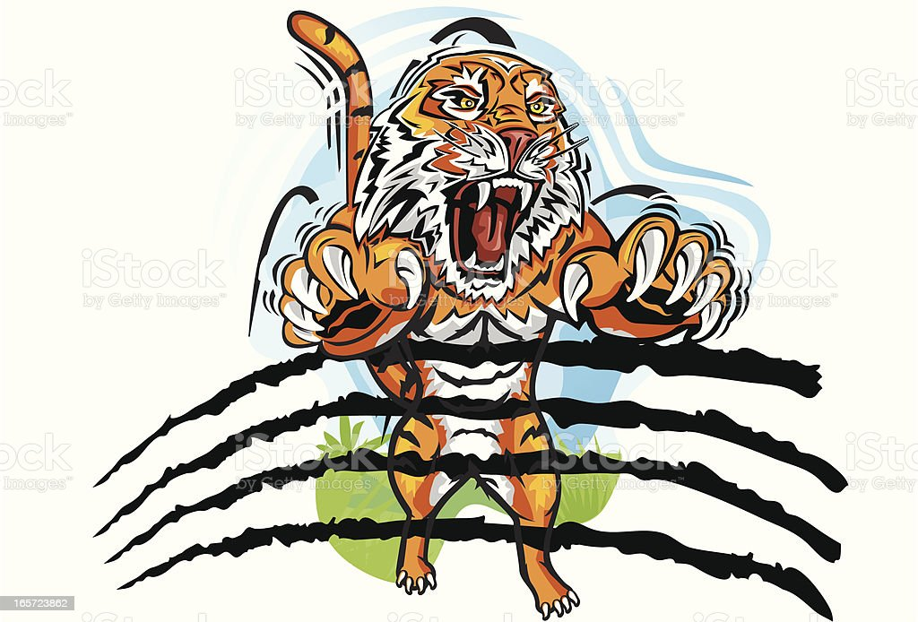 Leaping Tiger royalty-free stock vector art