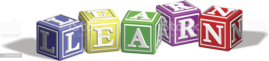 Learn alphabet blocks vector art illustration