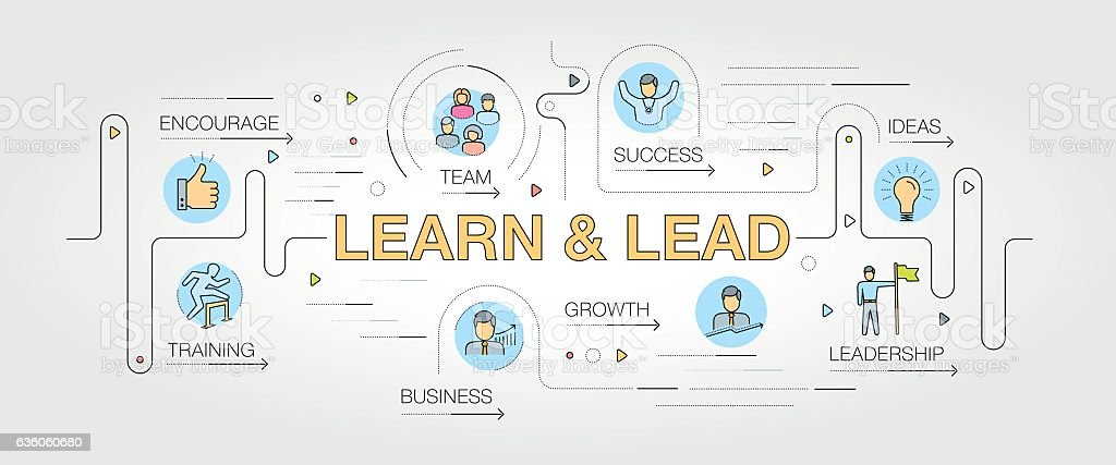 Learn and Lead banner and icons vector art illustration