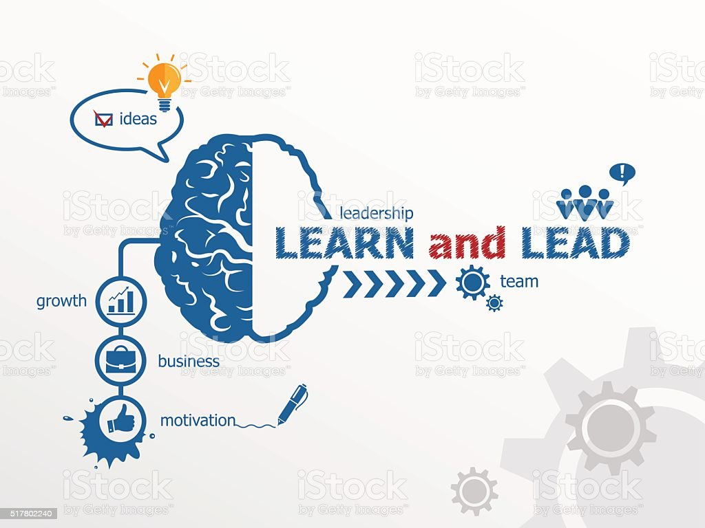 Learn and Lead concept and brain. vector art illustration