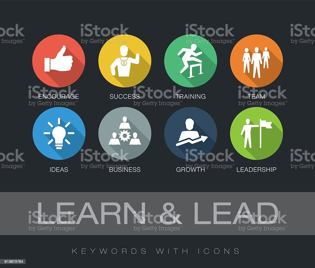 Learn and Lead keywords with icons vector art illustration