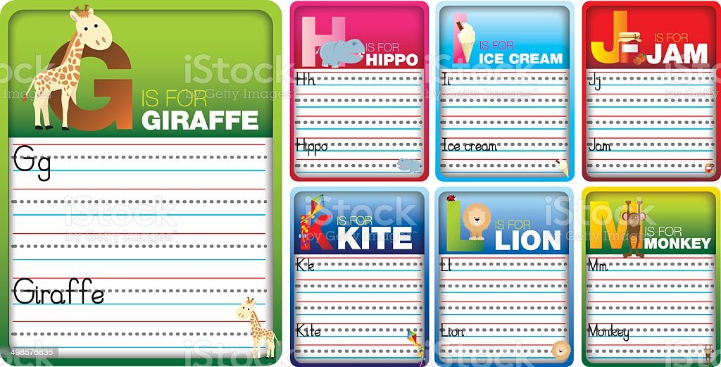 Learn to read and write cards royalty-free stock vector art