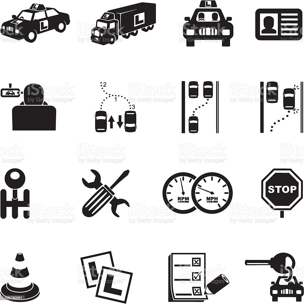 Learner Driver Icons vector art illustration
