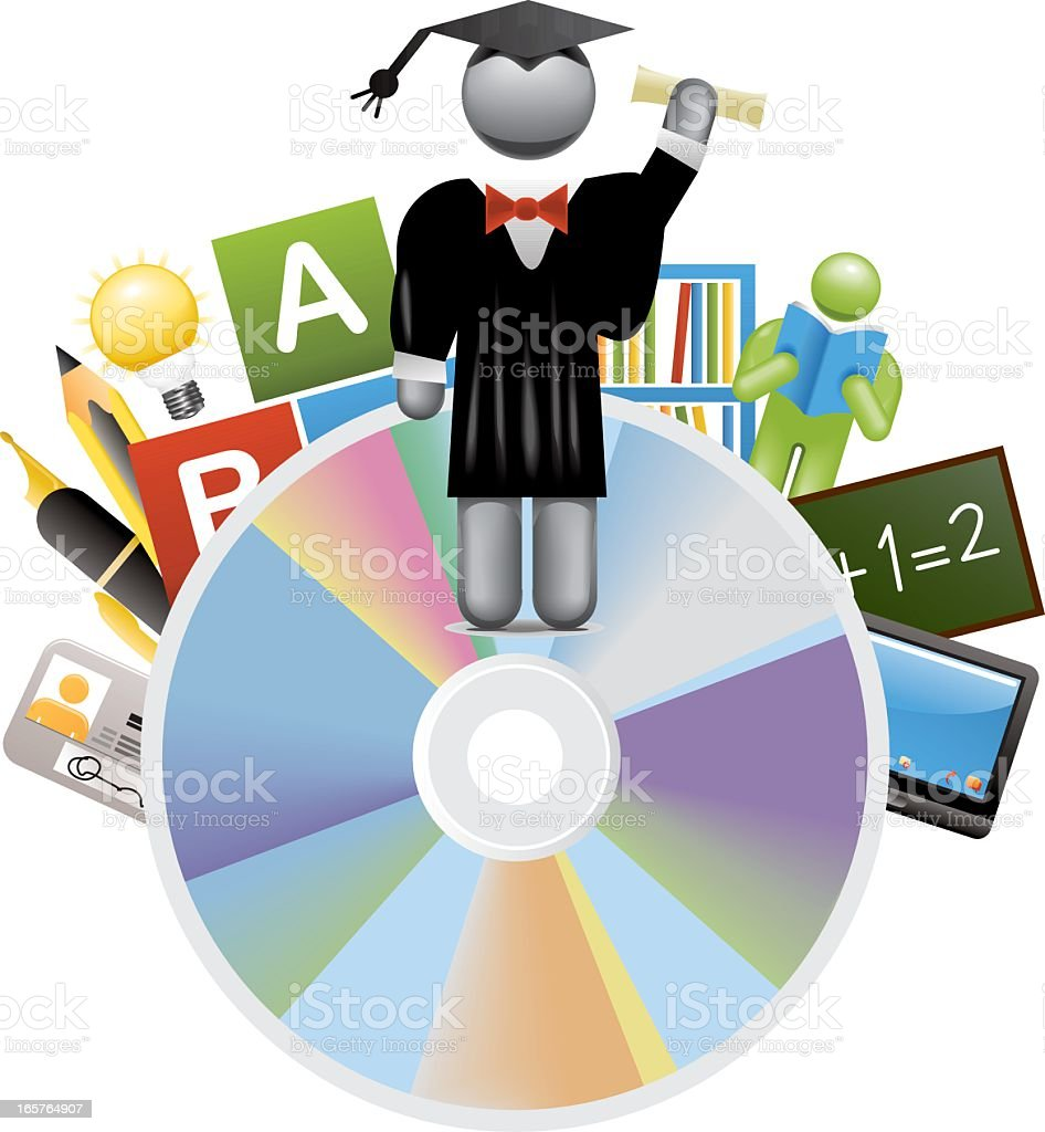 Learning and Education on Disc royalty-free stock vector art