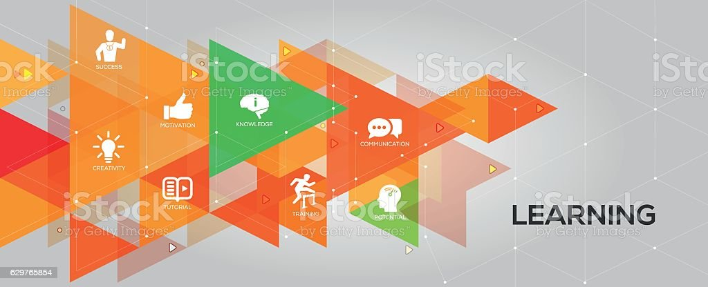 Learning banner and icons vector art illustration