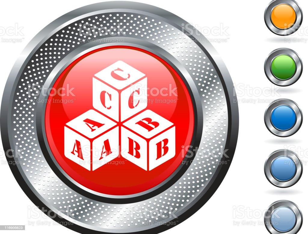 Learning blocks royalty free vector art on metallic button royalty-free stock vector art