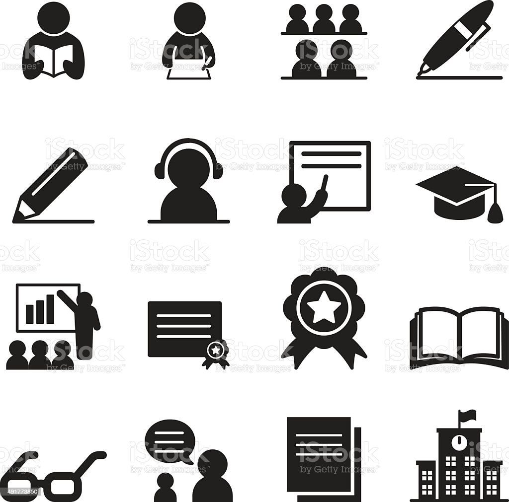 Learning icon set vector art illustration