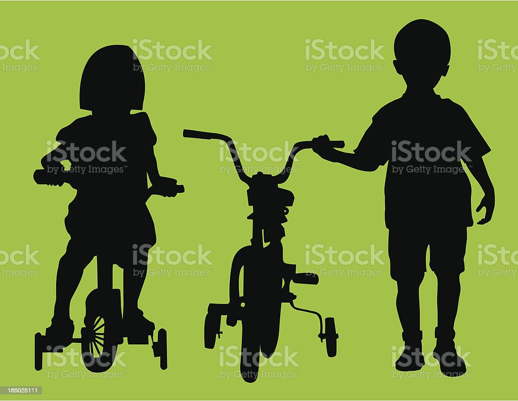 Learning to Bike ( Vector ) royalty-free stock vector art
