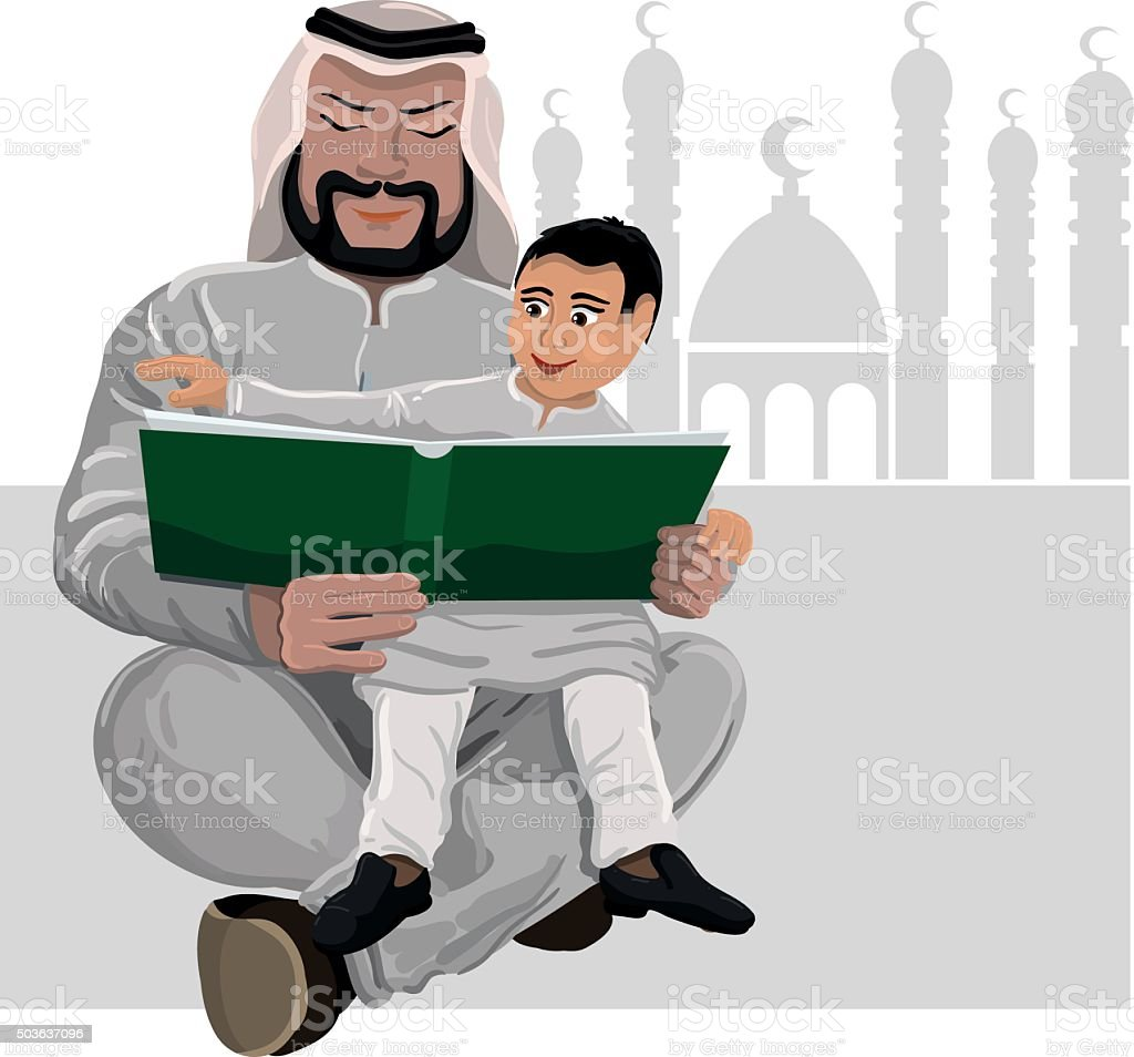 learning to read the Koran vector art illustration