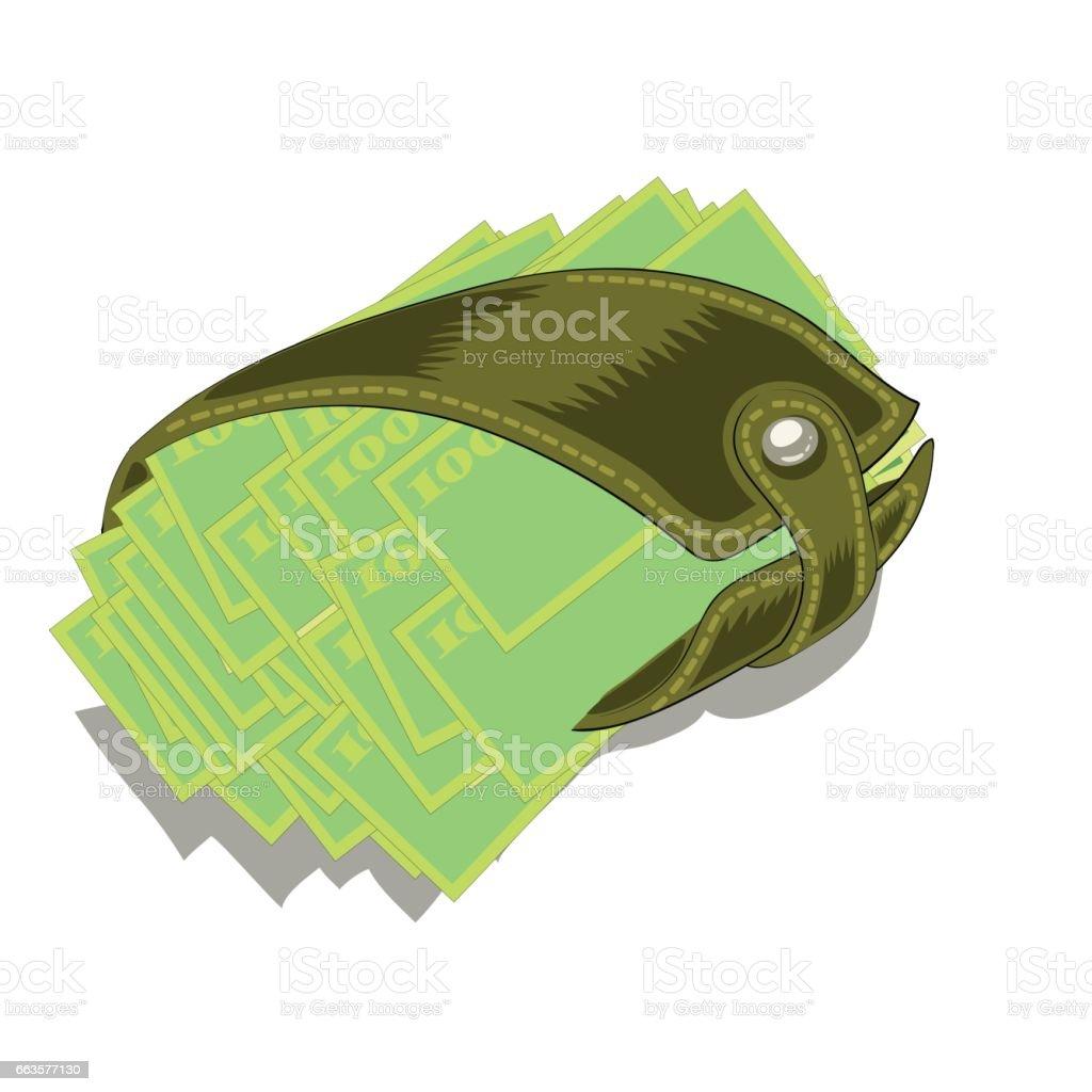 Leater Wallet Stuffed vector art illustration