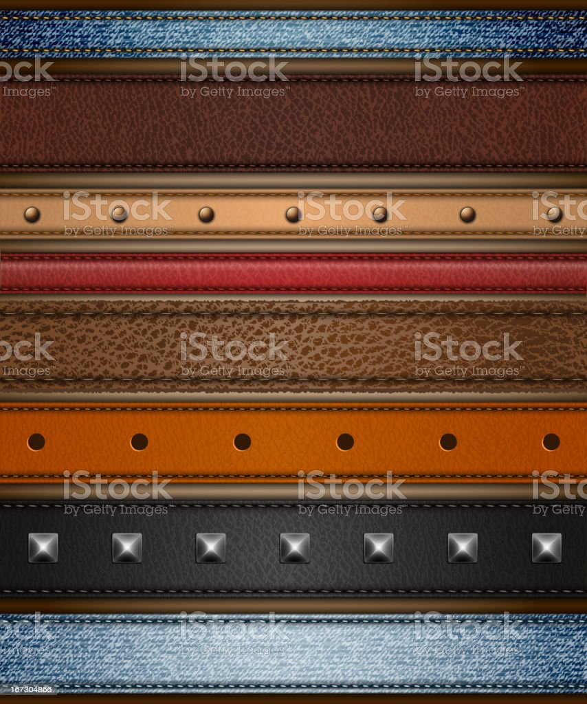 Leather and denim ribbons set vector art illustration