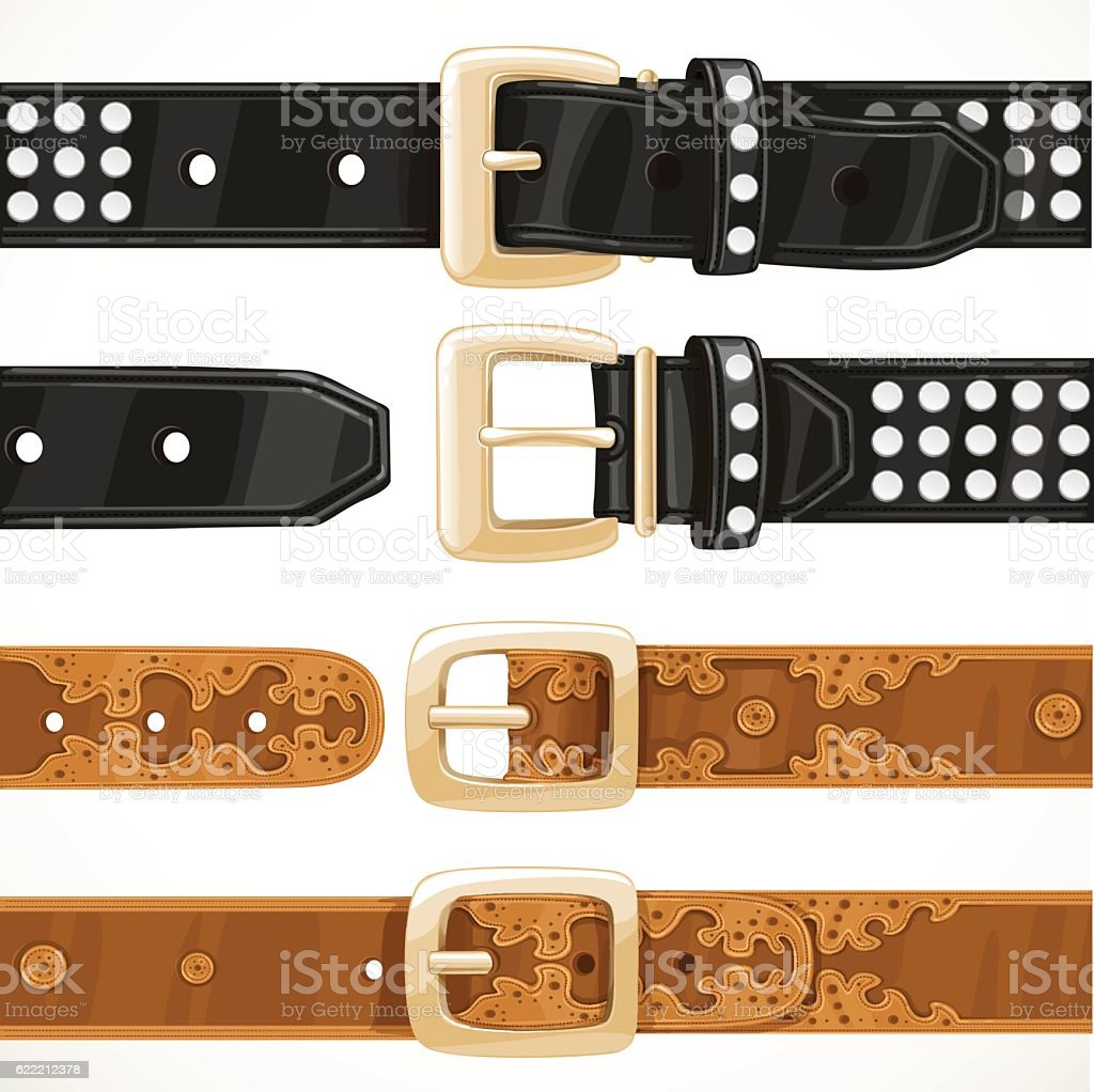 Leather belts with rivets and embroidery buttoned and unbuttoned vector art illustration