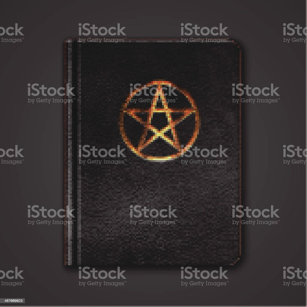 Leather Book With Pentagram. Vector royalty-free stock vector art