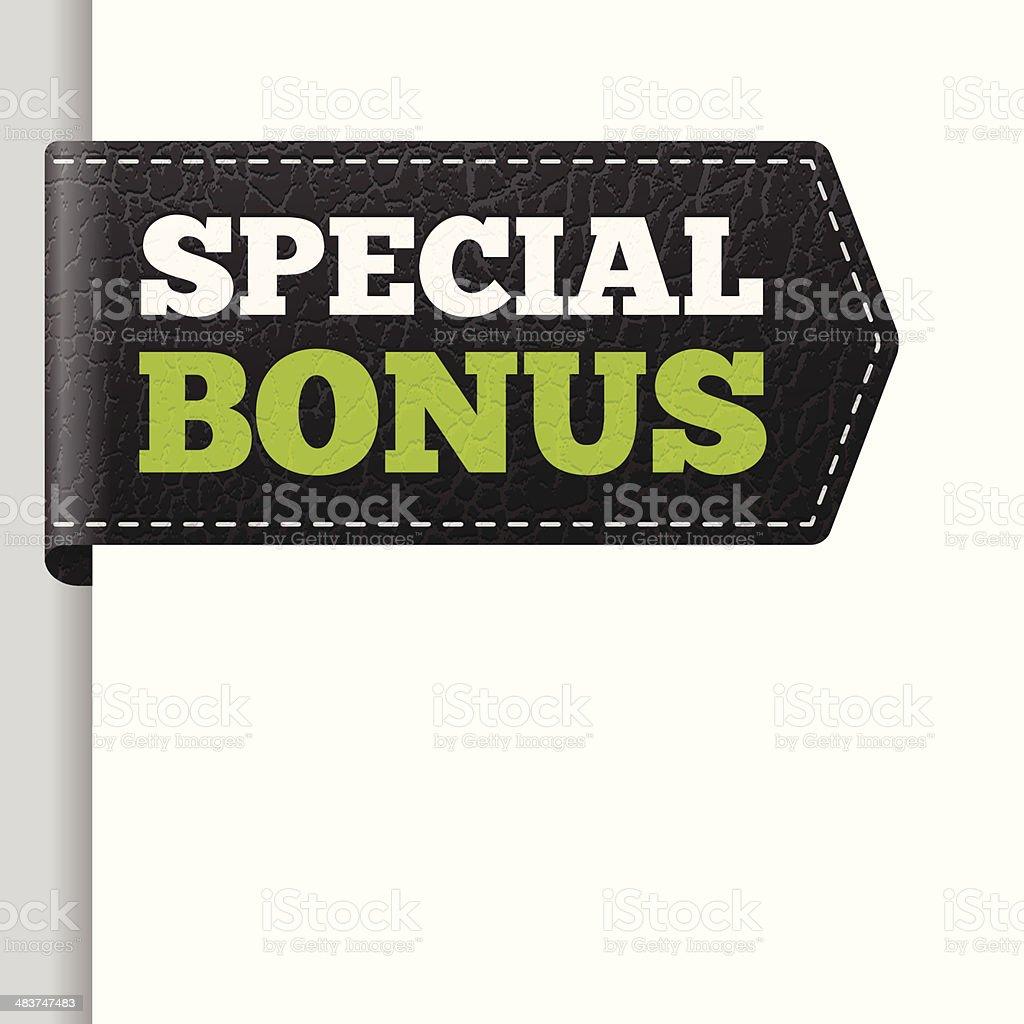 SPECIAL BONUS leather bookmark label vector art illustration