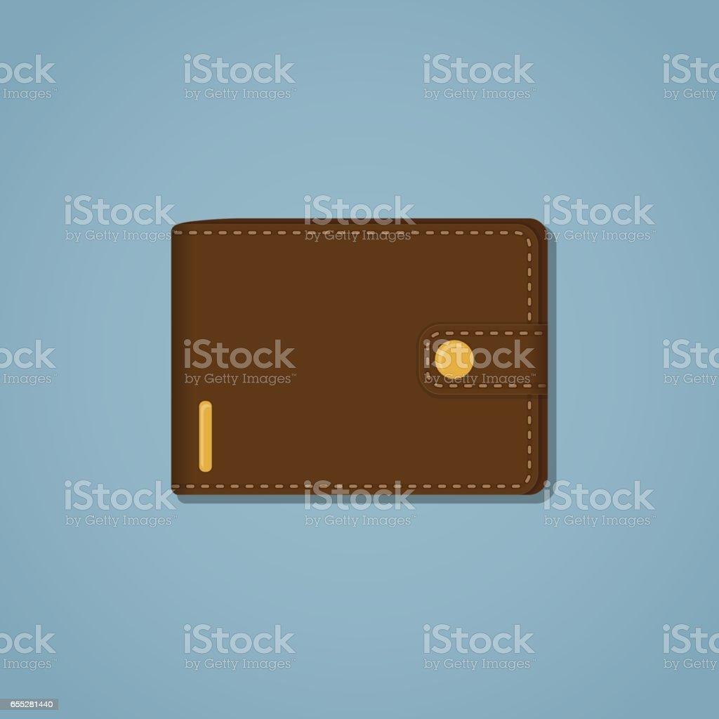 Leather brown wallet vector art illustration