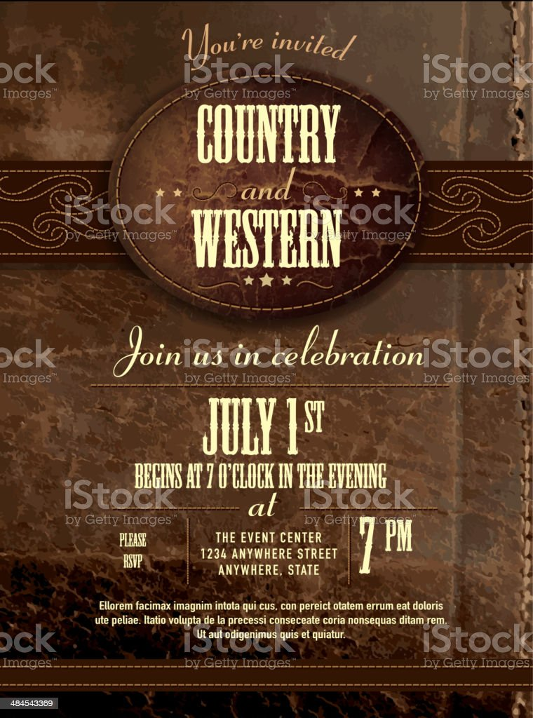 Leather country and western invitation design template vector art illustration