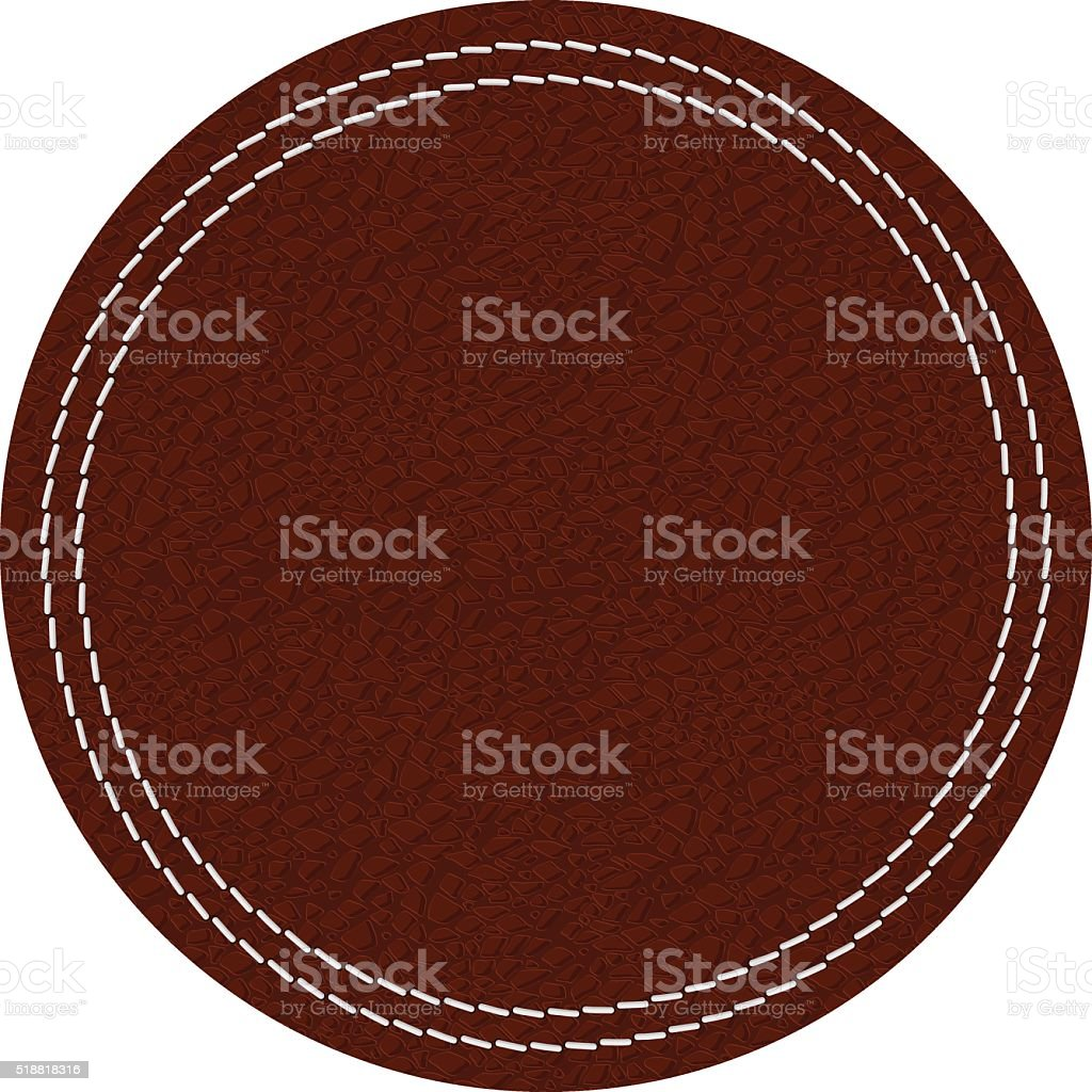 Leather label. Brown shield with stitch vector art illustration