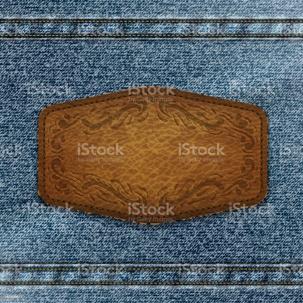 Leather label on denim royalty-free stock vector art