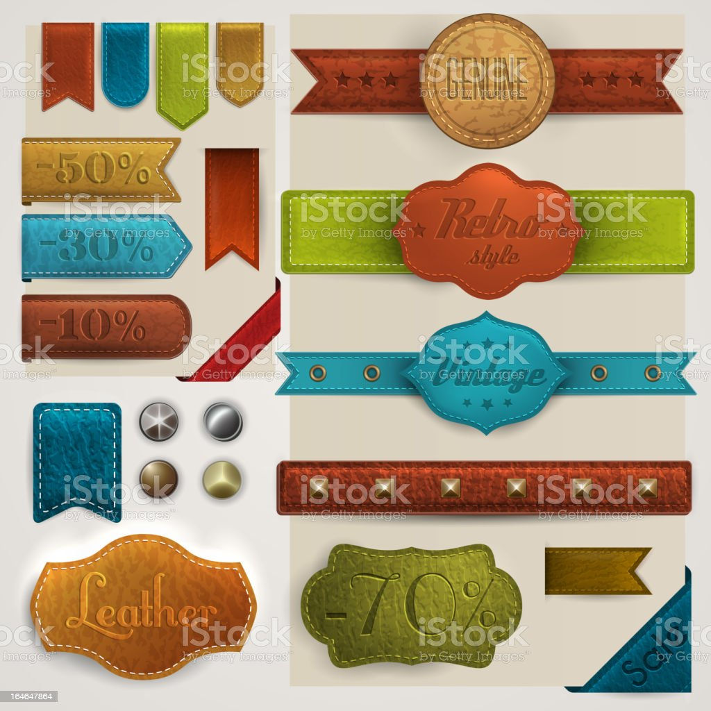 Leather labels, ribbons and rivets collection vector art illustration