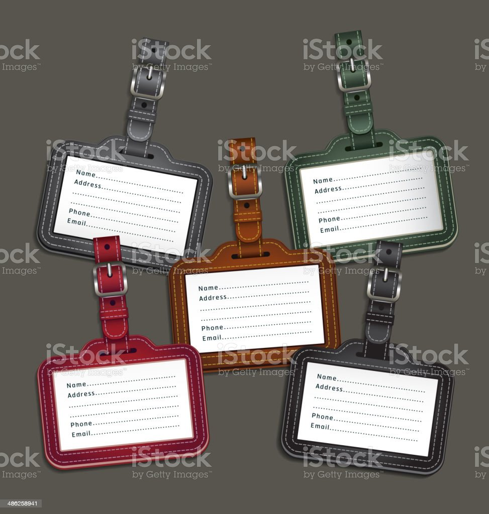 Leather luggage tags labels. vector art illustration