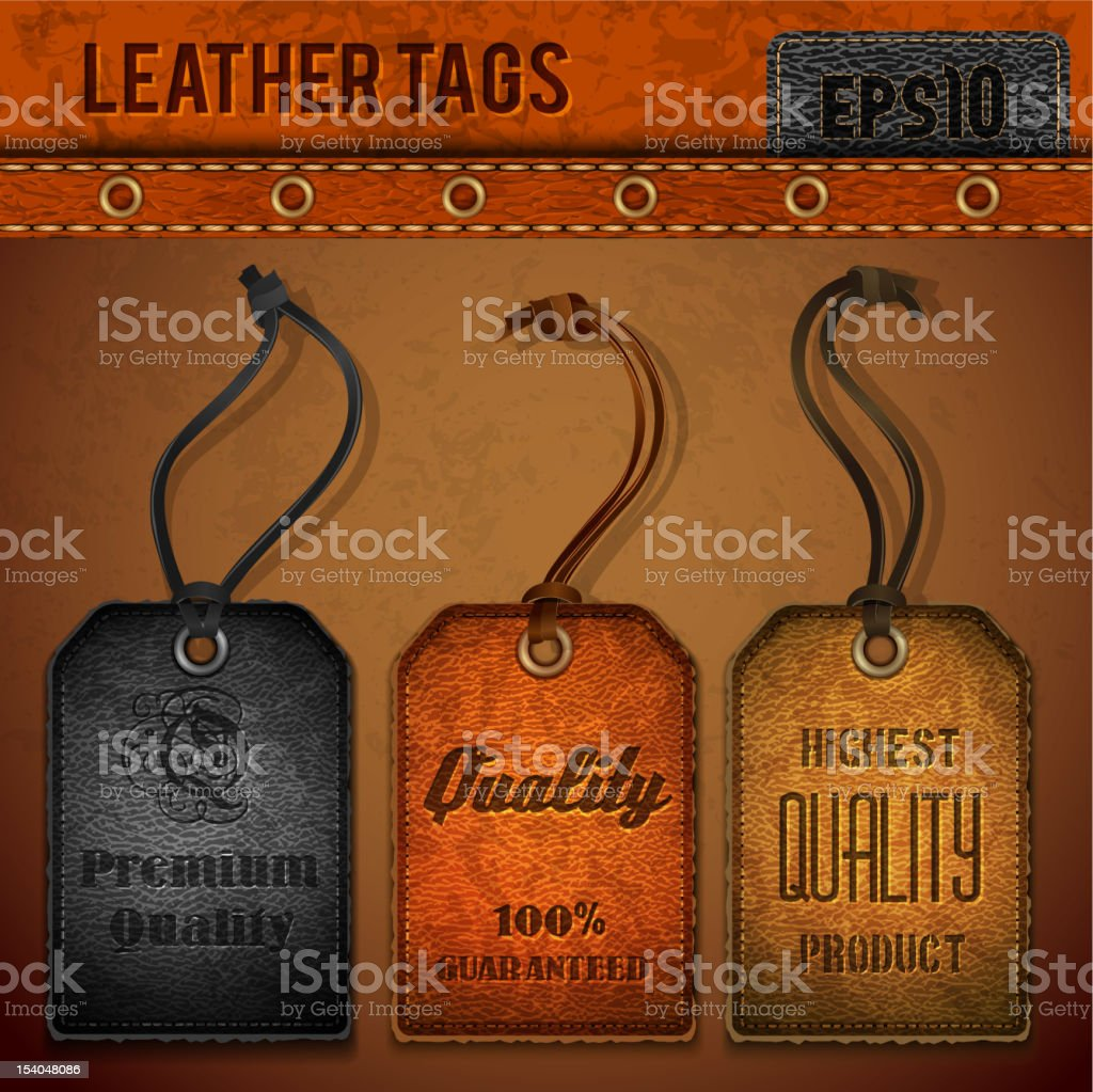 Leather tags set royalty-free stock vector art