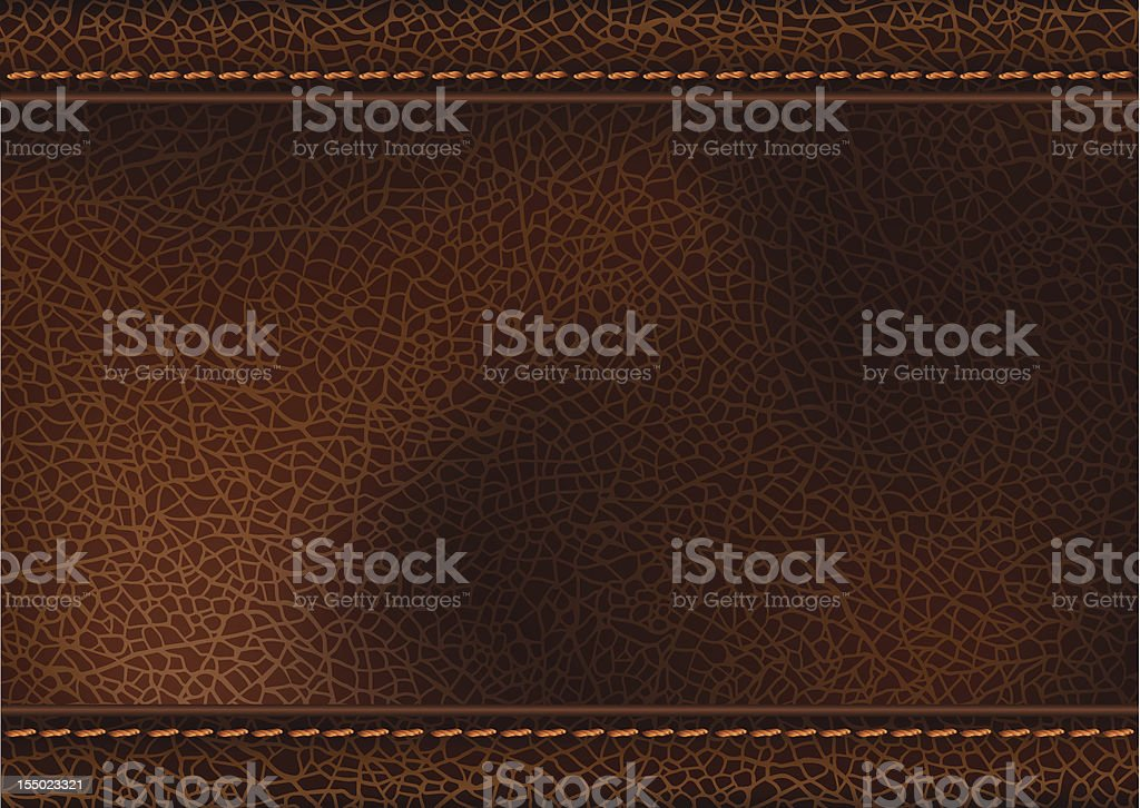 Leather texture with stitching vector art illustration