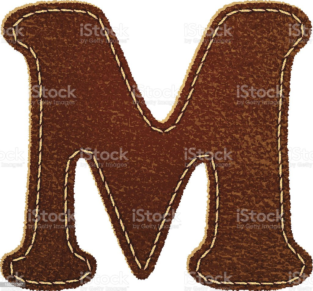 Leather textured letter M royalty-free stock vector art