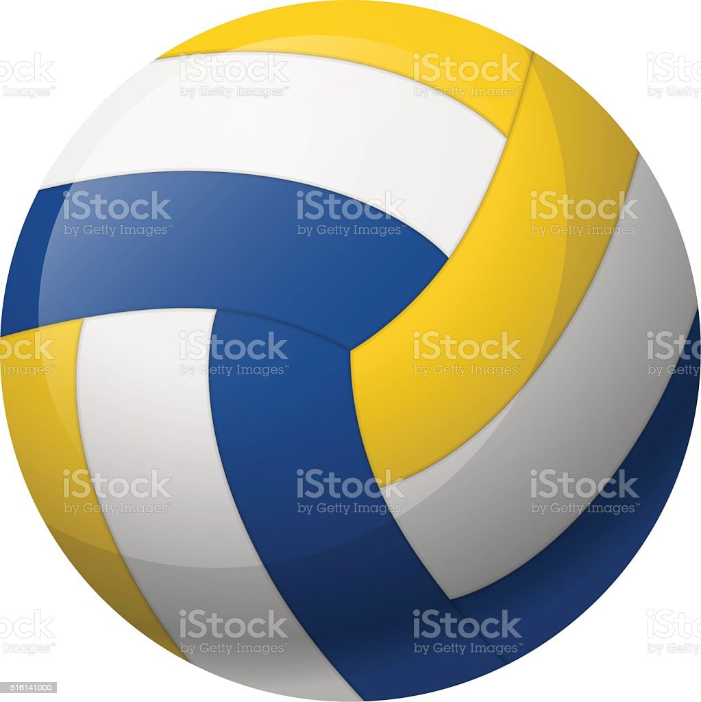 Leather volleyball ball vector art illustration
