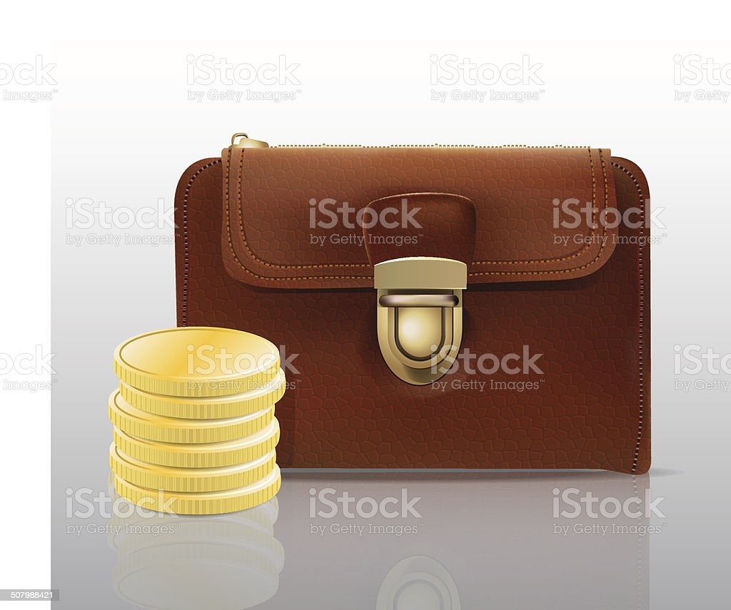 Leather wallet with coins vector art illustration
