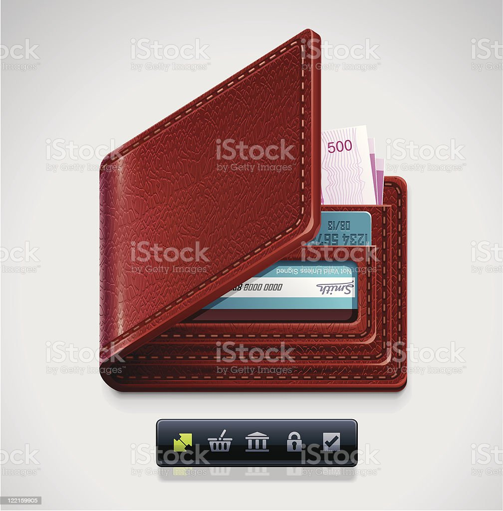 Leather wallet XXL icon royalty-free stock vector art
