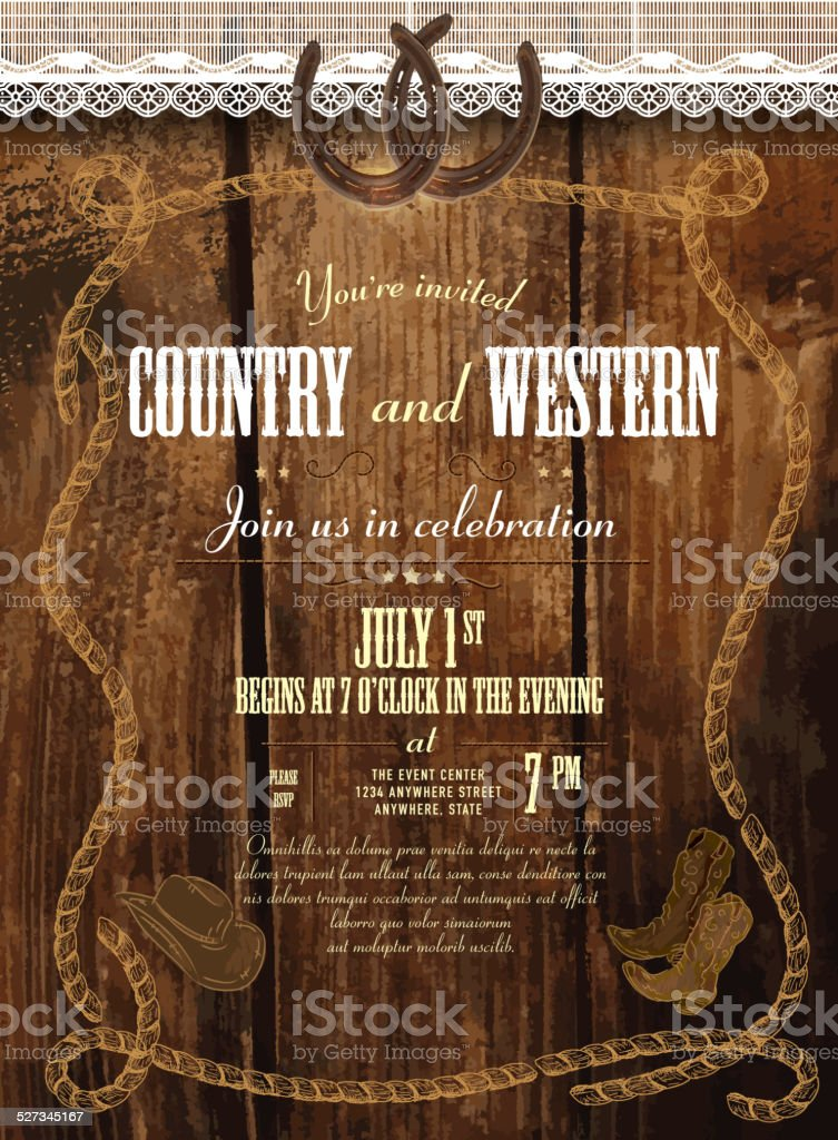 Leather, wood and lace country and western horsheshoe design template vector art illustration