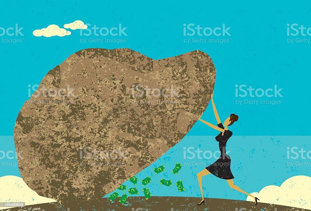 Leave no stone unturned vector art illustration