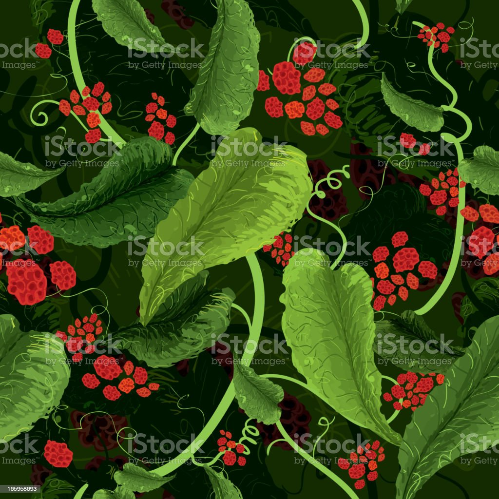 Leaves and berries seamless pattern vector art illustration