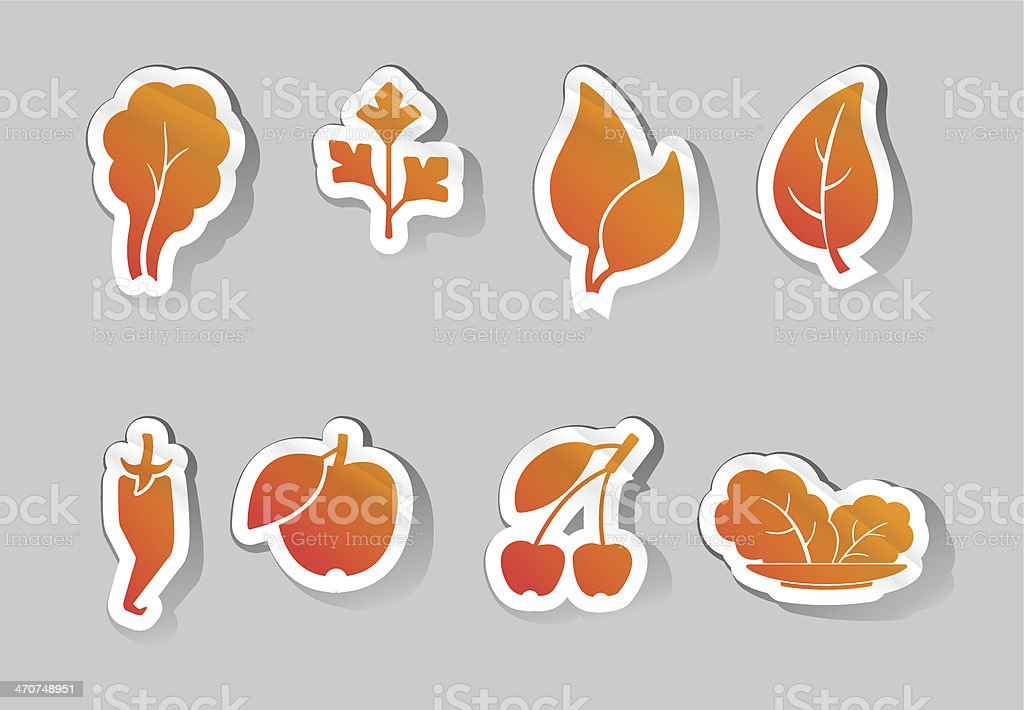 leaves and fruit icons royalty-free stock vector art