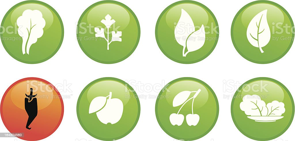 leaves and fruit on color buttons royalty-free stock vector art