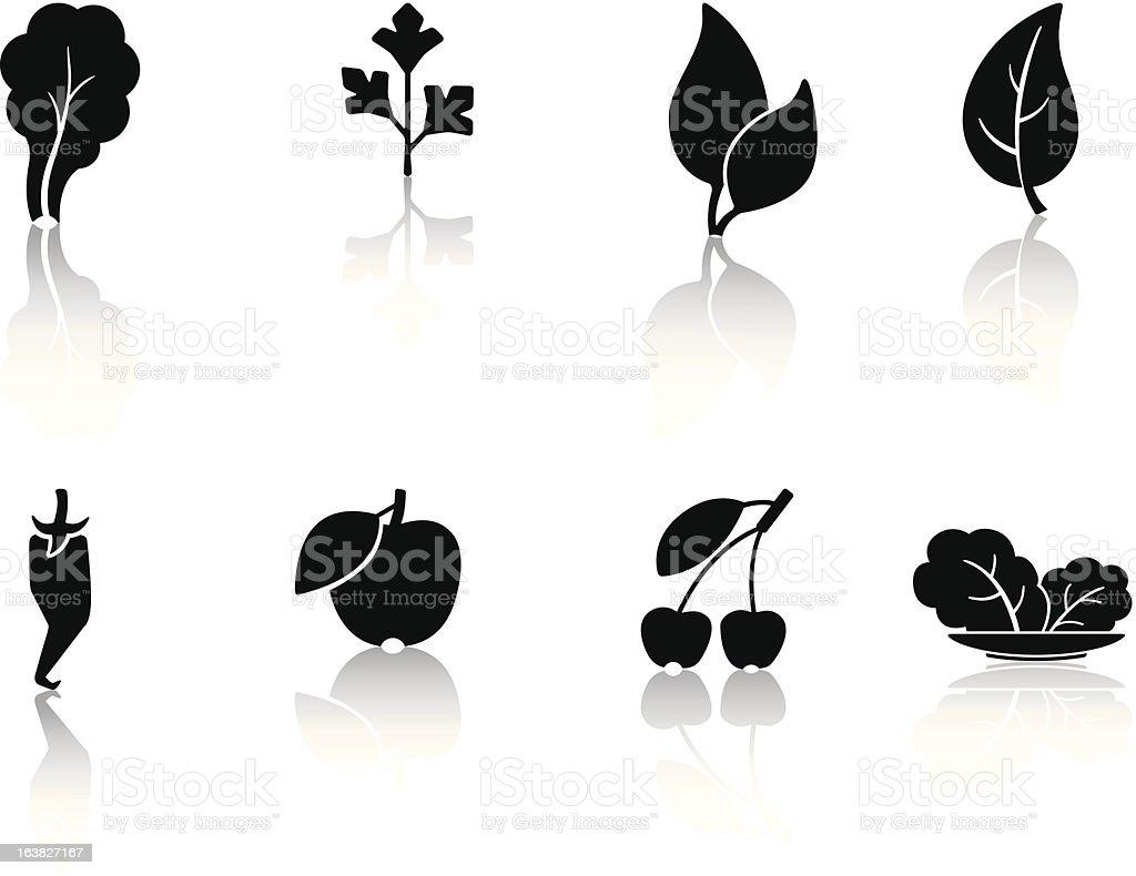 leaves and fruit vector art illustration