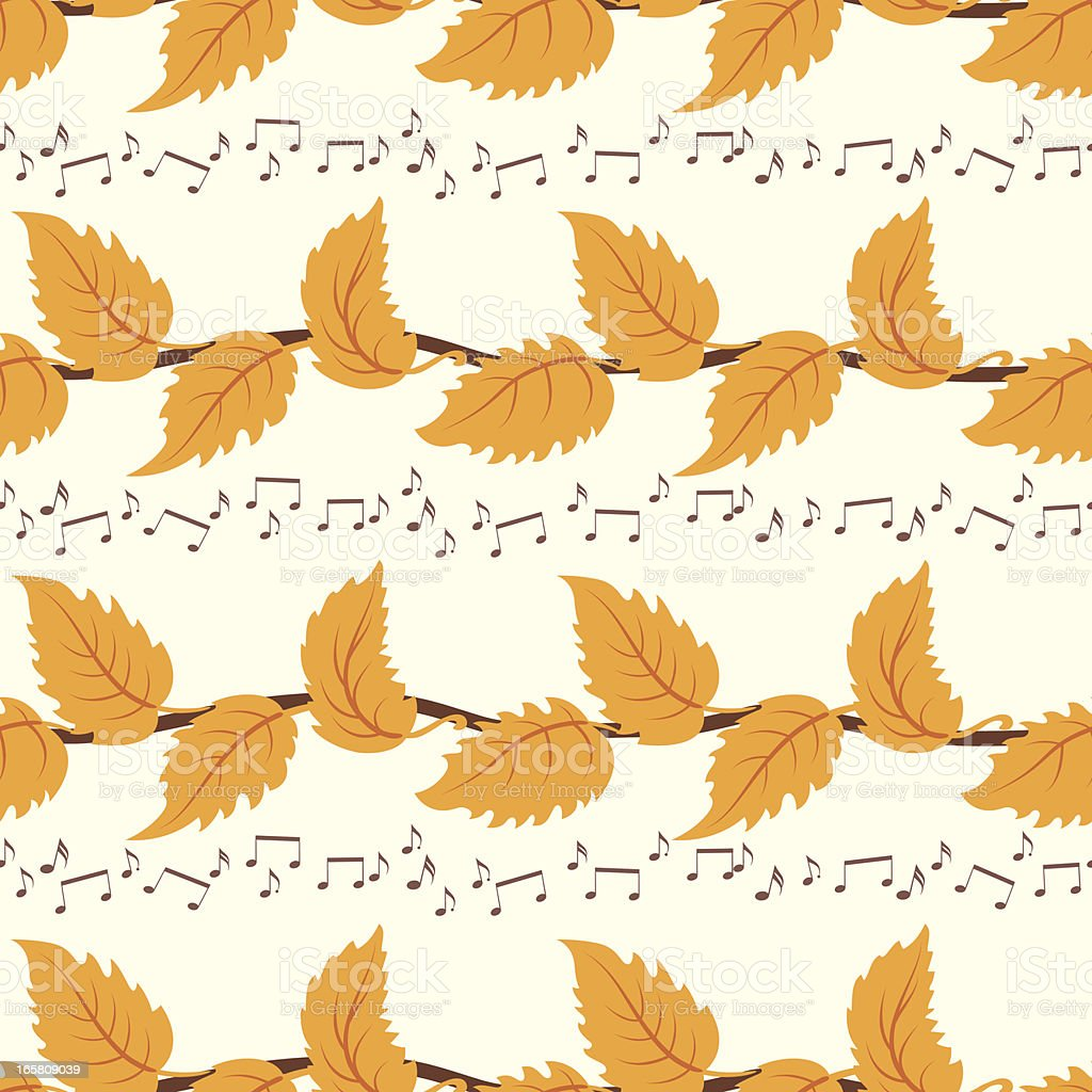 Leaves And Music Notes Pattern royalty-free stock vector art