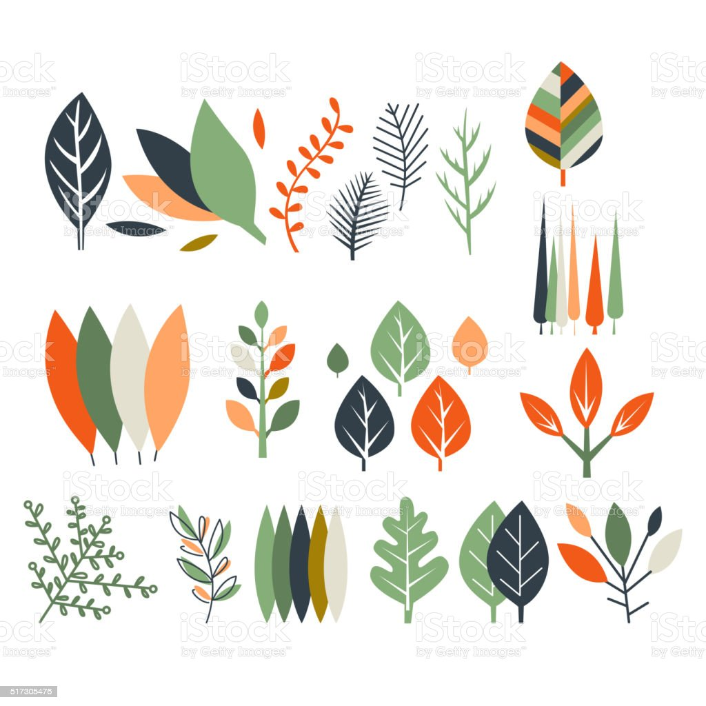 Leaves Collection Modern Design vector art illustration